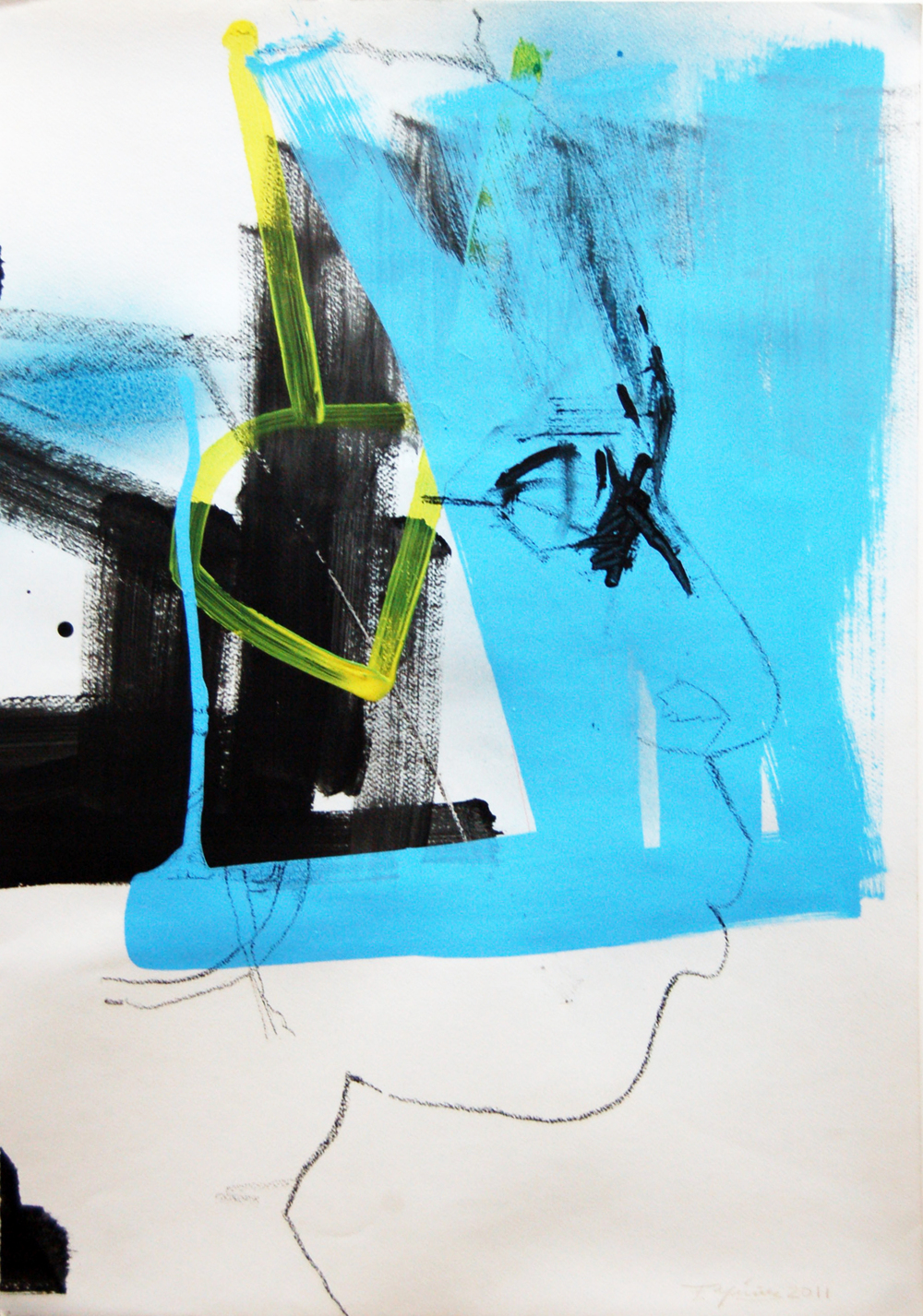 FN-006,  Francisco Nunez The Wall, Mixed media on paper, 52cmx 75cm.jpg