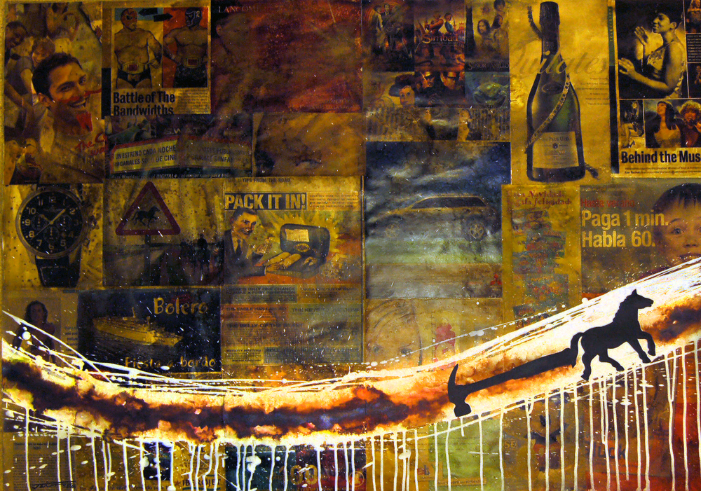 Jairo Alfonso, De la Series-Intervenciones #1 (Horse with Hammer), Mixed Media on Cardboard, 2005, 100 cm x 70 cm