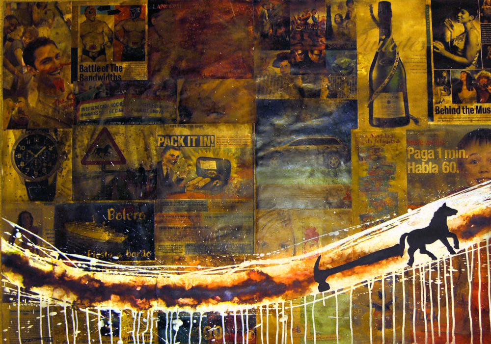 JairoAlfonso,De la Series-Intervenciones #1 (Horse with Hammer), Mixed Media on Cardboard, 2005, 100 cm x 70 cm