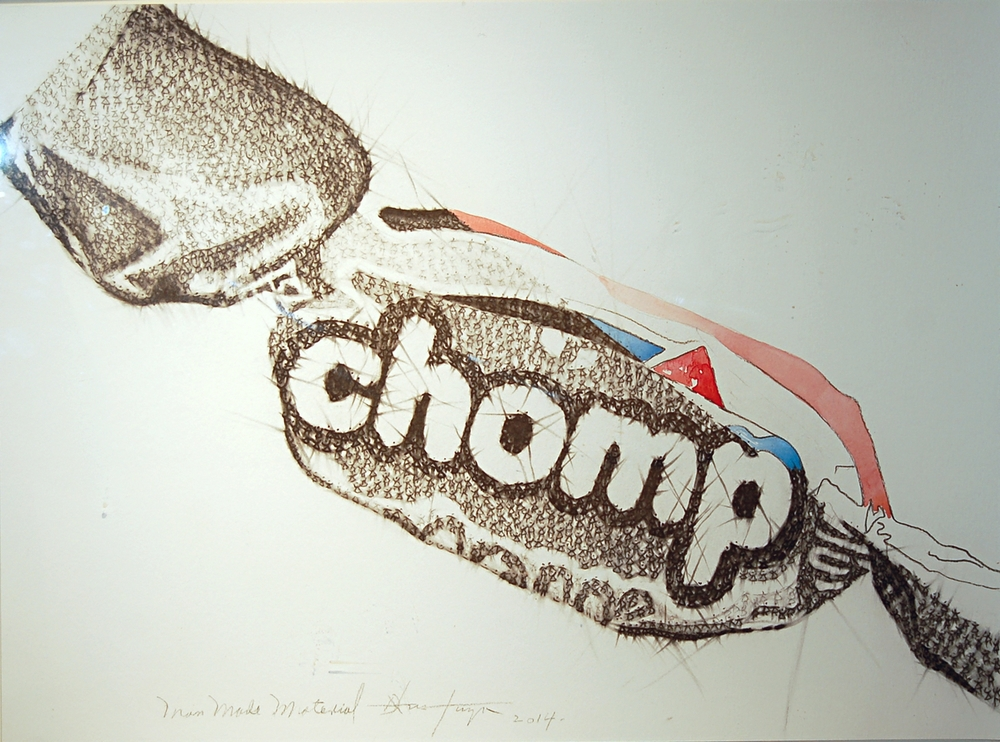 Dalvis Tuya, Man Made Material Series #2 (Chomp), Charcoal and Watercolour on Paper, 2014, 61 x 45 cm