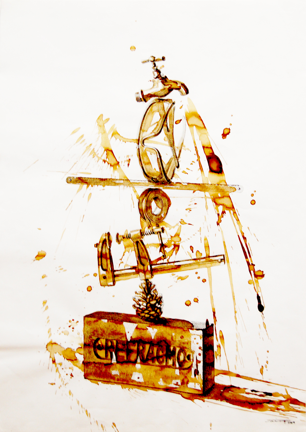 JairoAlfonso,Untitled, Equilibirum Series, Mixed Media on Paper, 2009, 77cm x 55cm