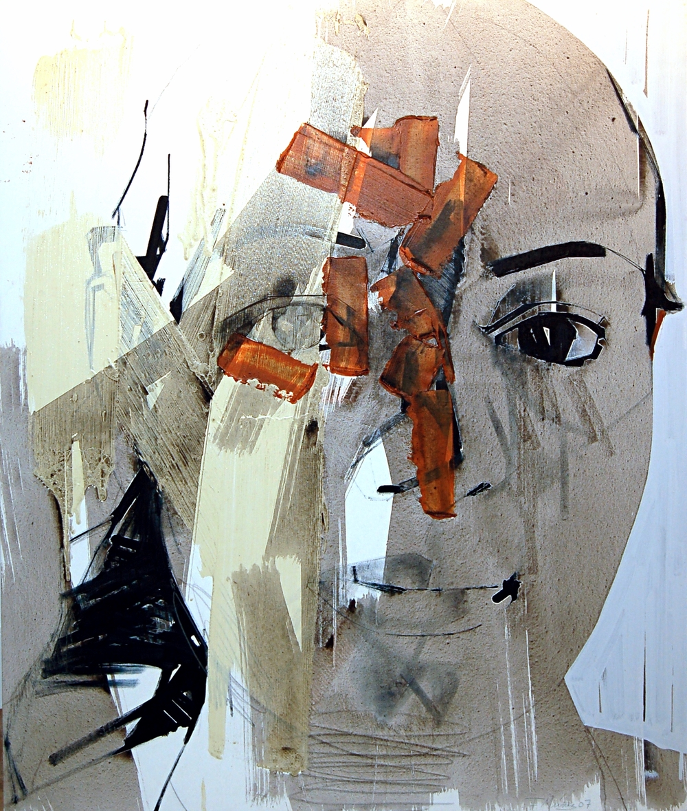 Francisco Nunez, Untitled (Portrait, Head), Mixed Media on Canvas, 2007, 120 x 100 cm