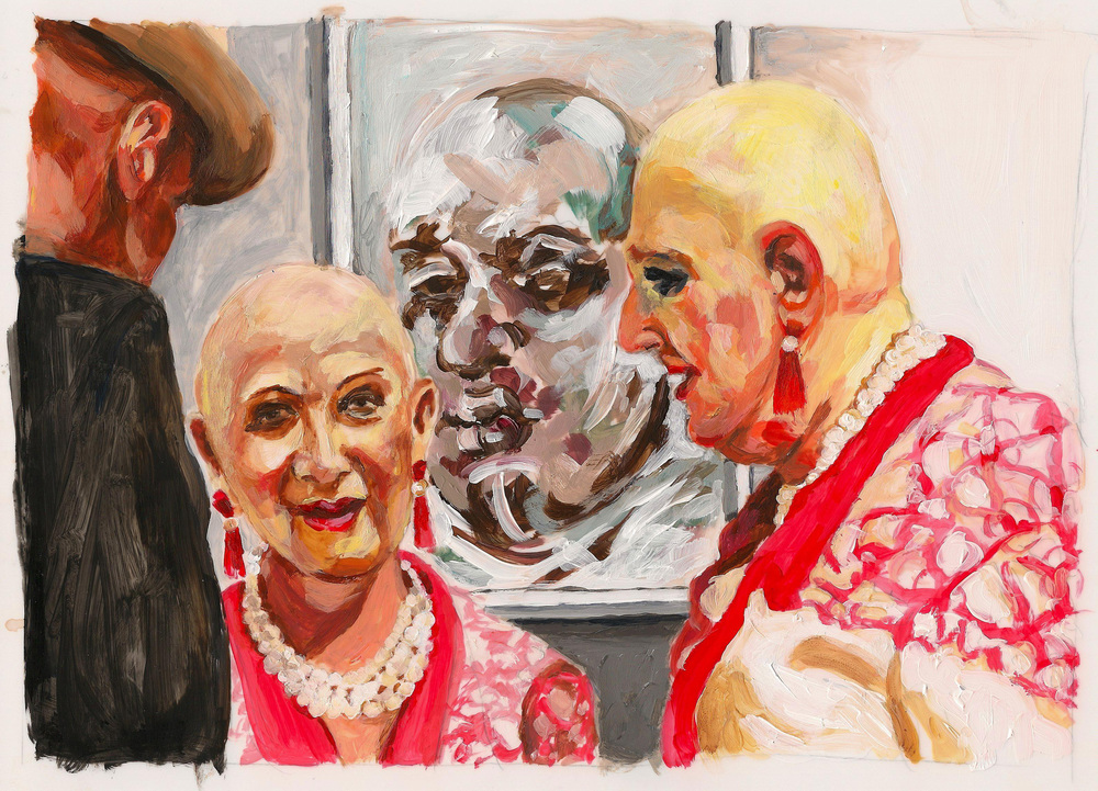 "Carole Freeman, The Fairs - Bald, acrylic on mylar 11"" x 8.5"""