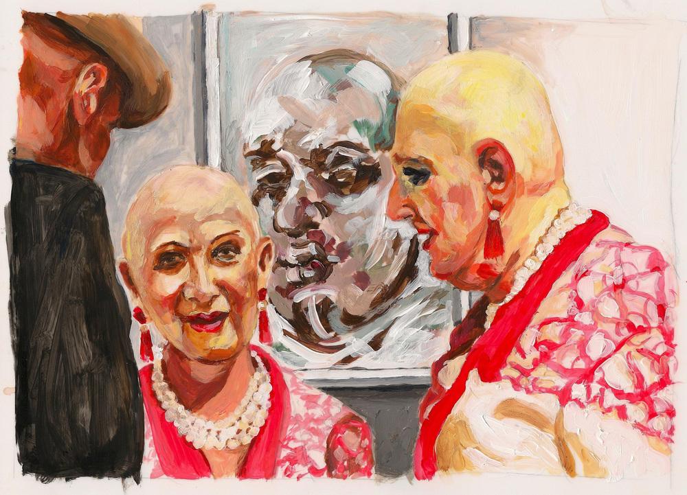 "Carole Freeman, The Fairs - Bald, acrylic on mylar 11"" x 8.5"""
