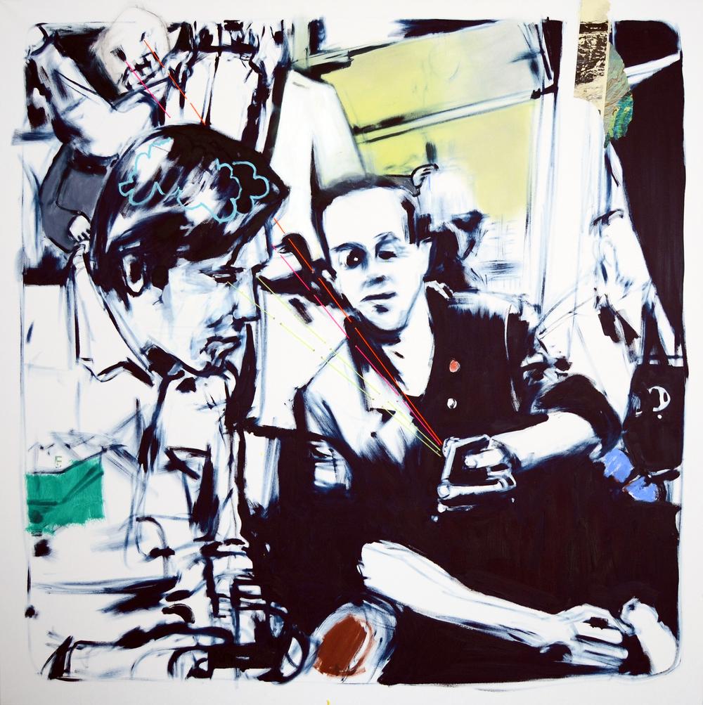 "Cyrus Smith, U8, oil, paper, string on canvas, 63"" x 63"""