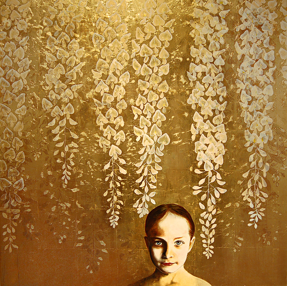 "Kae Sasaki, Untitled, Oil and Patina on Gold-Leafed Panel, 2014, 40"" x 40"""
