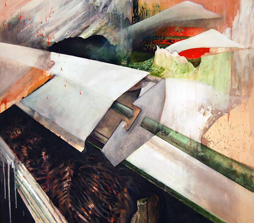 "Megan Krause, Navigating Hindemith, Watercolour, Acrylic and Oil on Panel, 24"" x 24"", 2012"