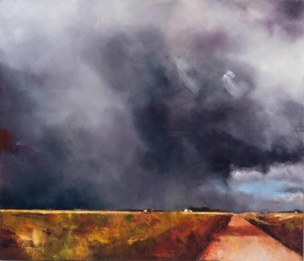 "CLICK TO ENLARGE Grey Sky, oil on canvas, 36"" x 42"""