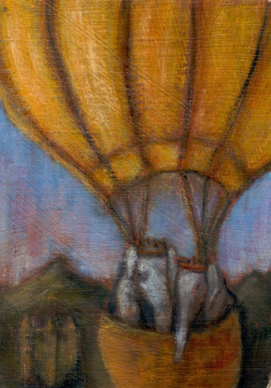 Shelley Vanderbyl, Babar, 2013, Oil on Card, 3 x 4