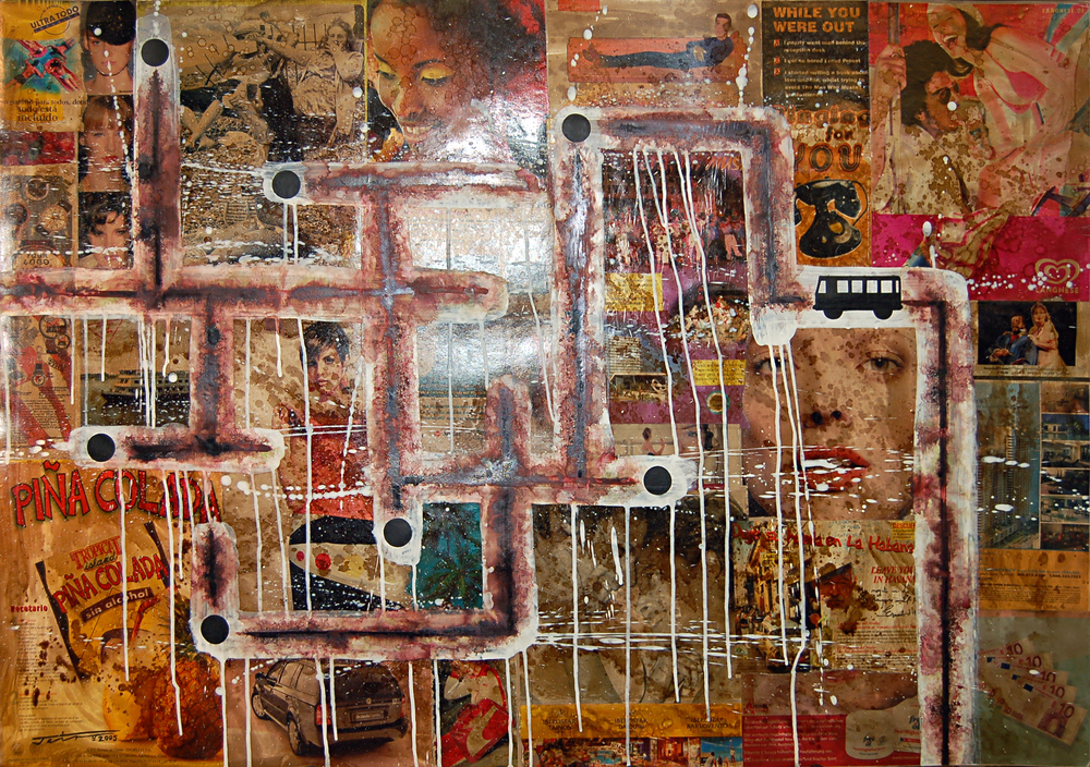 JA-030, Jairo Alfonso, De la Series-Intervenciones #7 (Grid), 2005, Mixed Media on Cardboard, 100 x 70 cm, $2,000