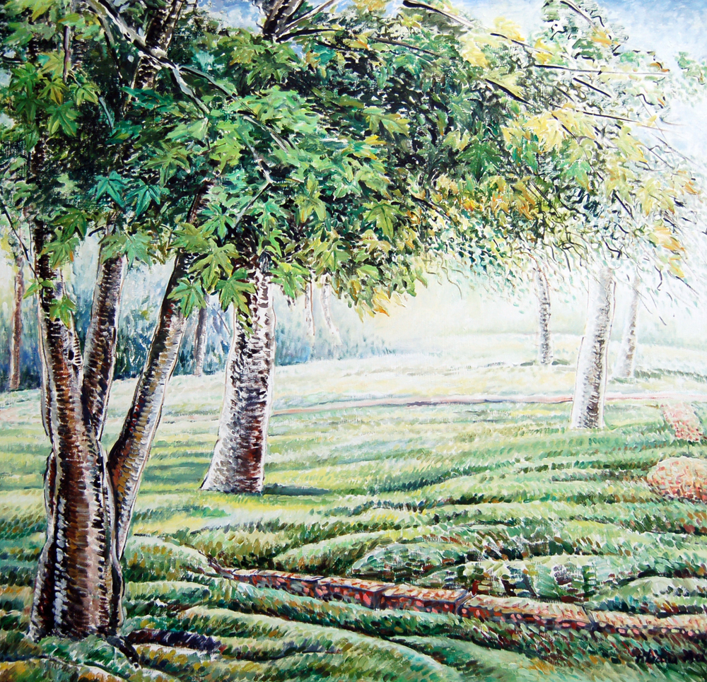 "Aliana Au, Canadian Silver Maple, Oil & Oil Stick on Canvas, 40"" x 38"""
