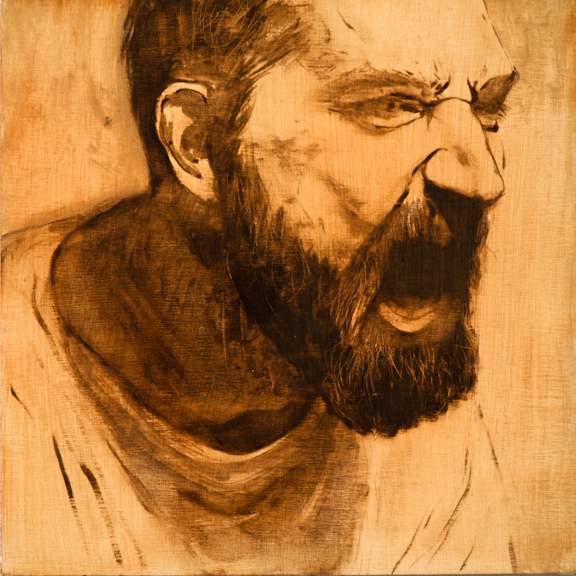 "Painting is History (Screaming Man), Oil on Board, 2012, 8"" x 8"", SOLD"