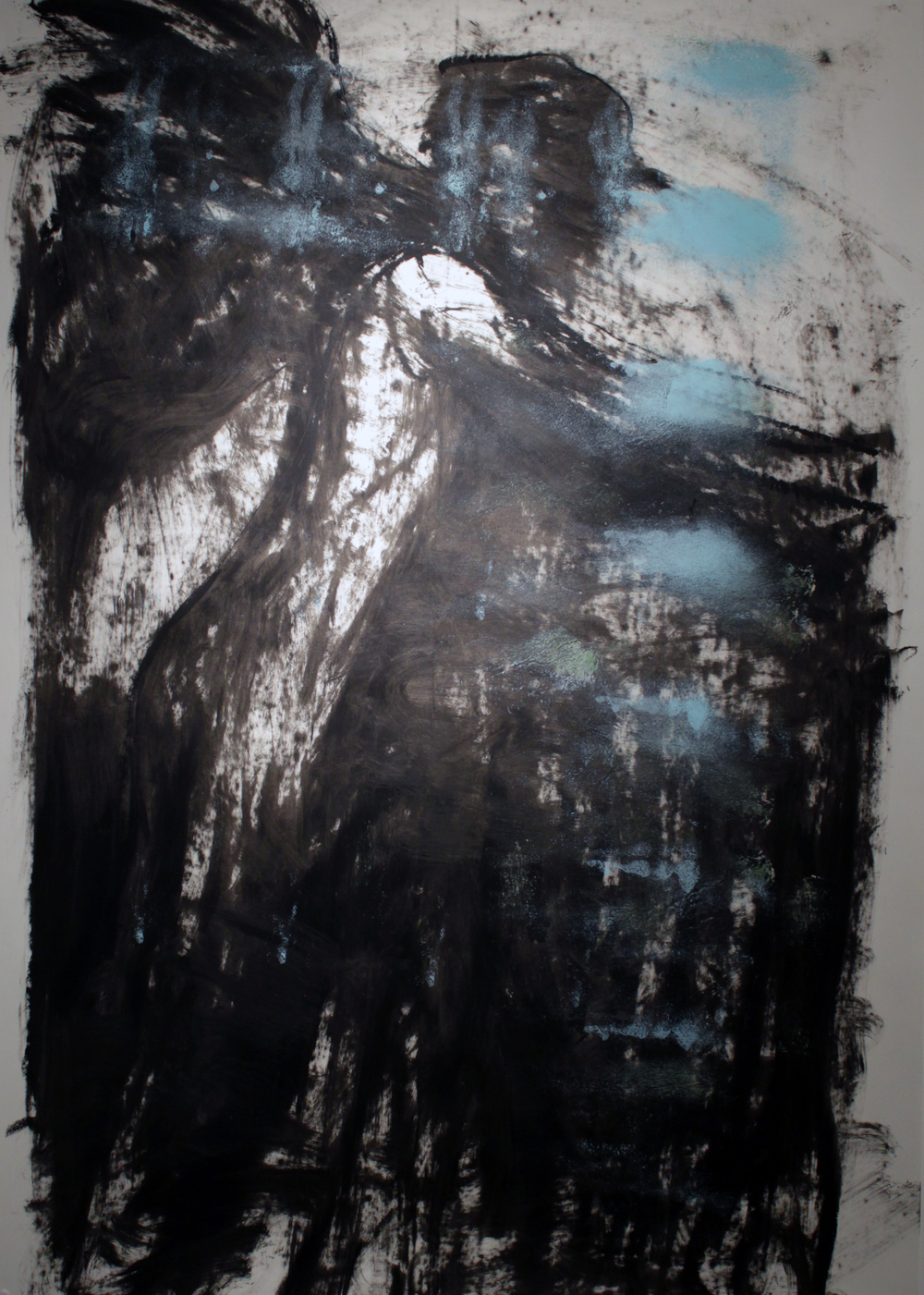 "Winged Figure, Oil Bar on Paper, 2013, 42"" x 60"", SOLD"