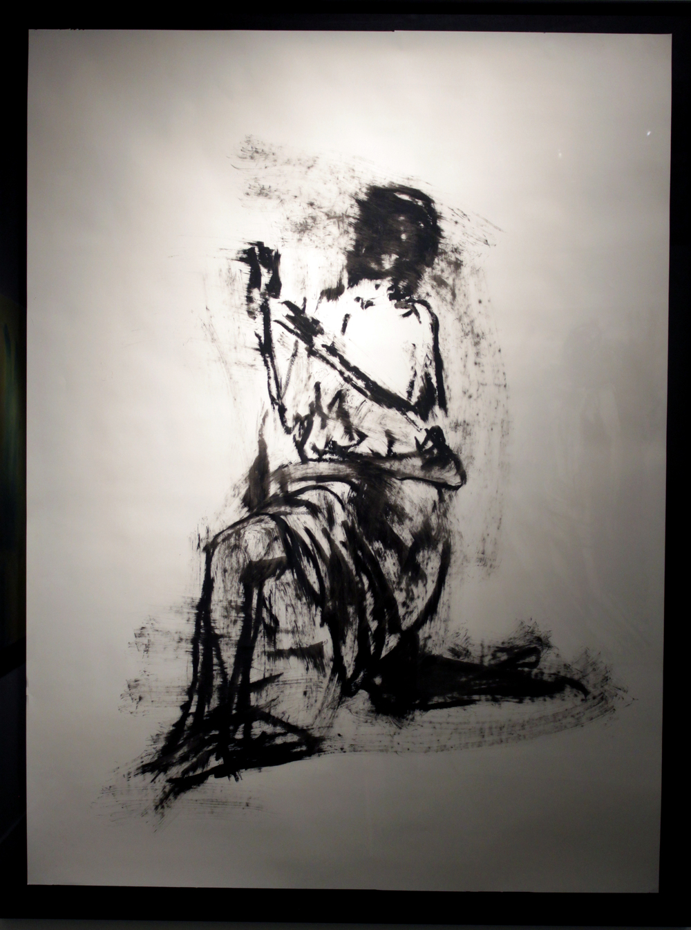 "Kneeling Figure, Oil Bar on Paper, 2013, 42"" x 65"""