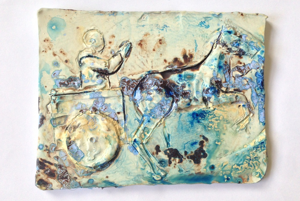 "Chariot, Ceramic and Acrylic, 2014, 8"" x 7"", $1,000"