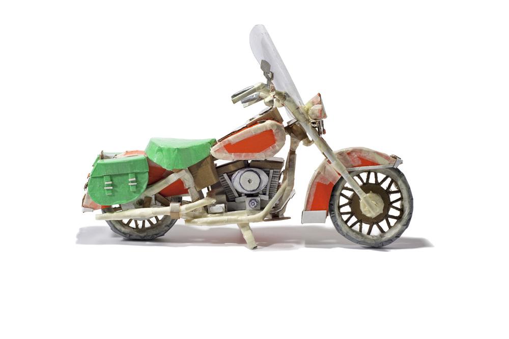 """Cardboard Harley (white), inkjet print, 19.5"""" x 27.5"""", SOLD"""