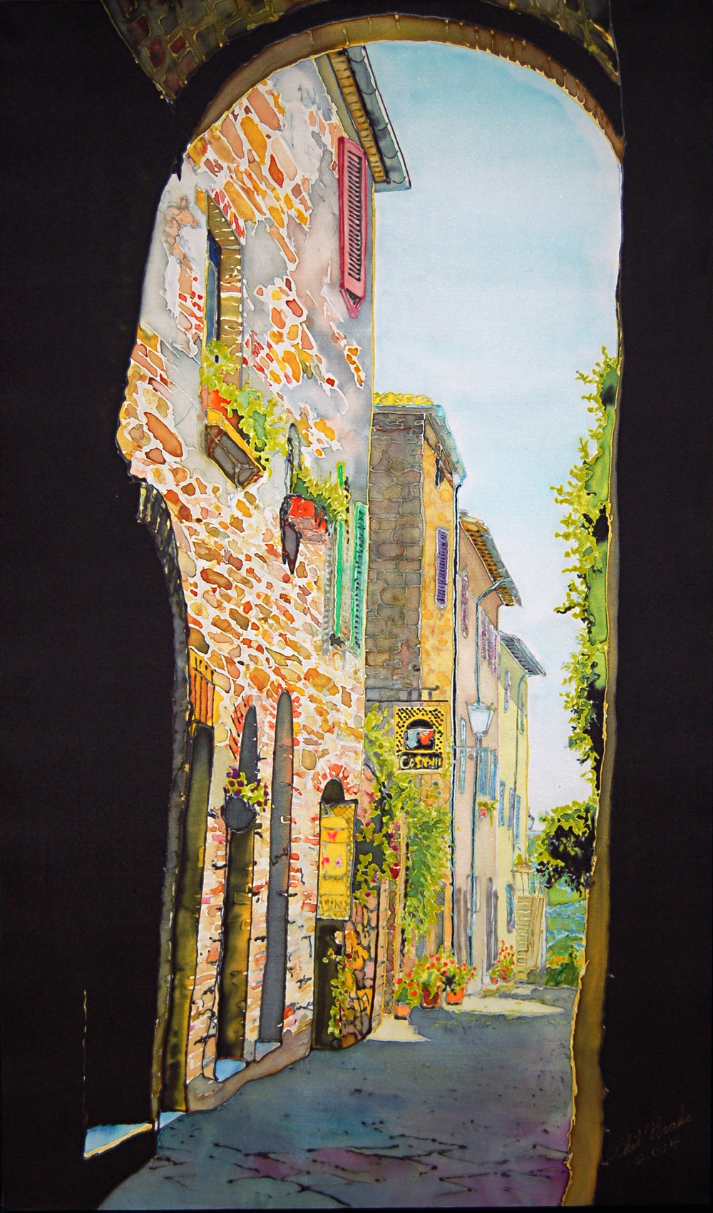 "Morning Light in Pienza, Dye on Silk, 20"" x 33"", 2014"