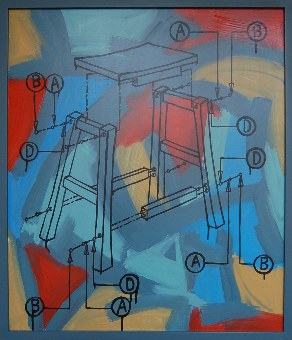 "Abstracted Instructions 1, Latex and Acrylic on Gatorboard,  2013, 25.5"" x 29.5"""