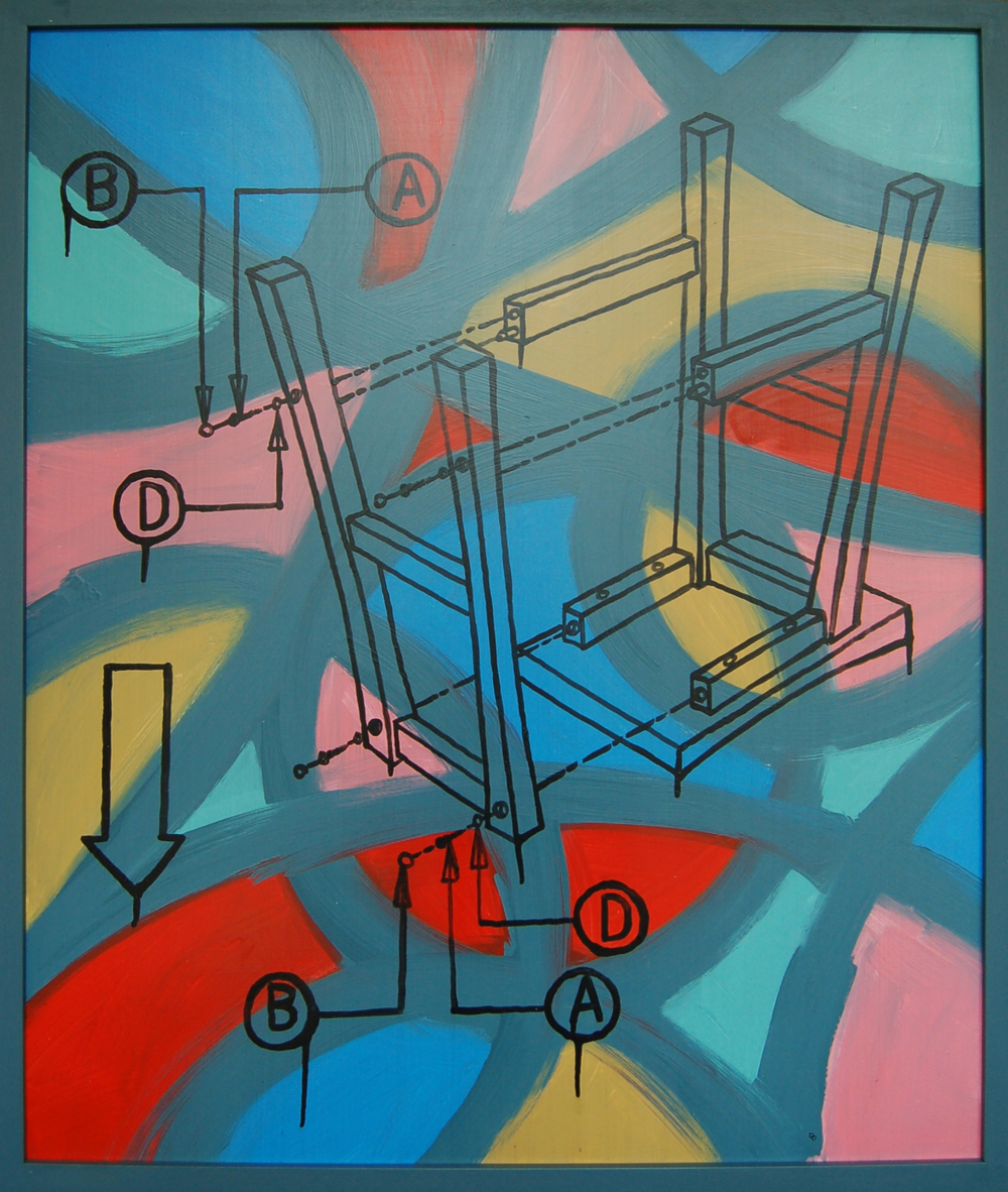 "Abstracted Instructions 2, Latex and Acrylic on Gatorboard,  2013, 25.5"" x 29.5"""