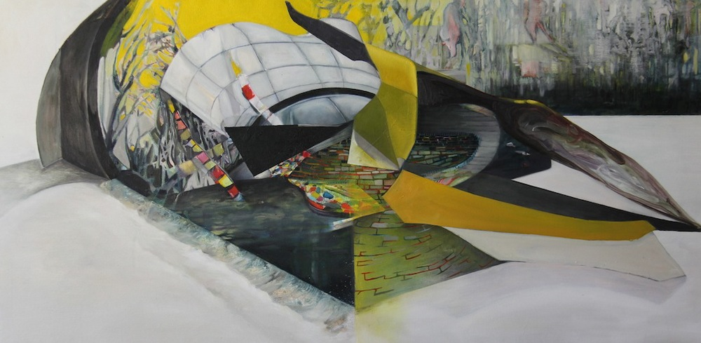 "Yesteryears Demolitions, Watercolour, Acrylic and Oil on Canvas, 48"" x 24"", 2012"