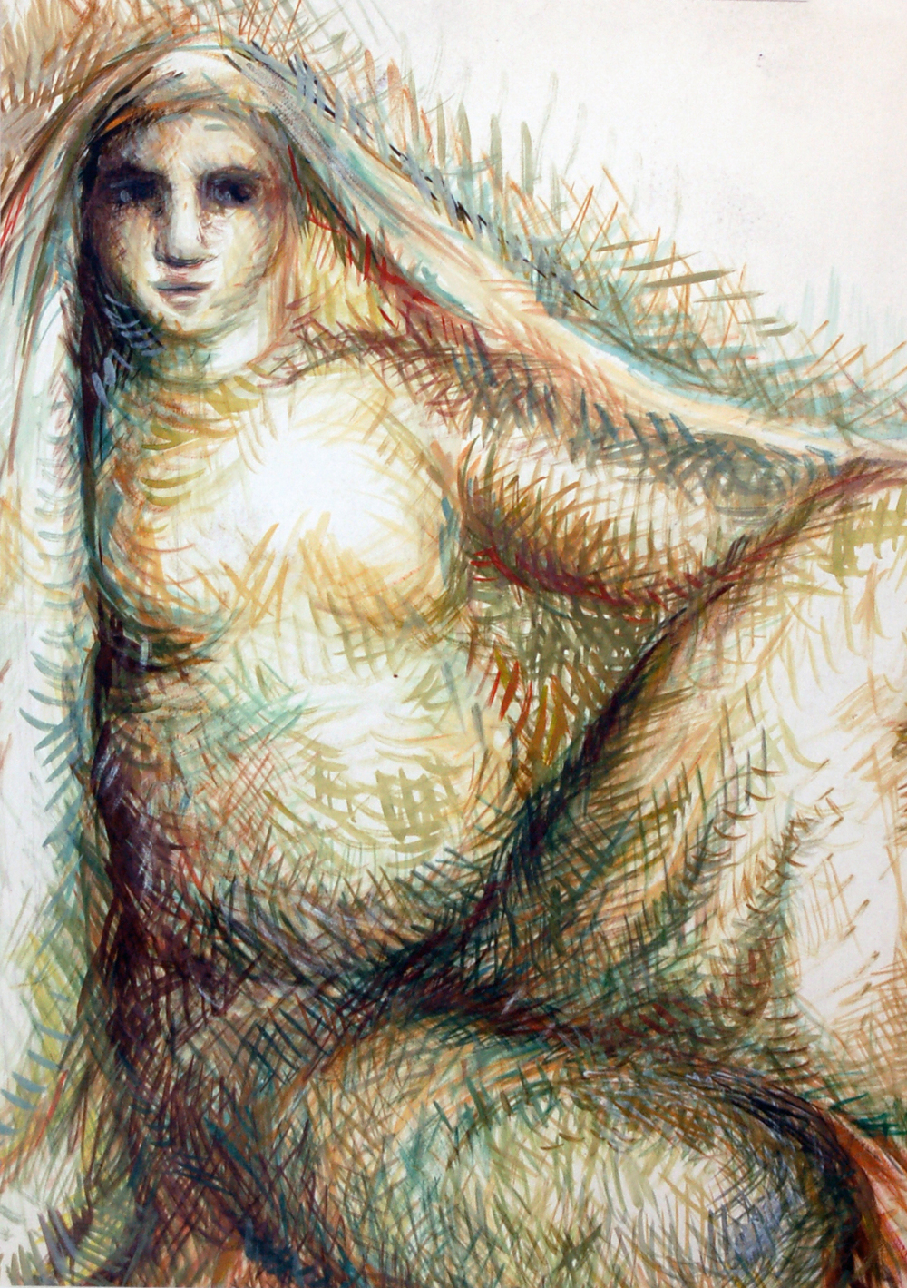 "Untitled (Woman Sitting), Mixed Media, 20"" x 30"""