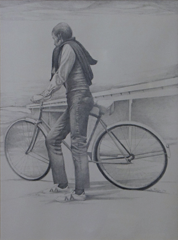 "Cyclist #3, 1973, Graphite on Paper, 12"" x 16.25"""