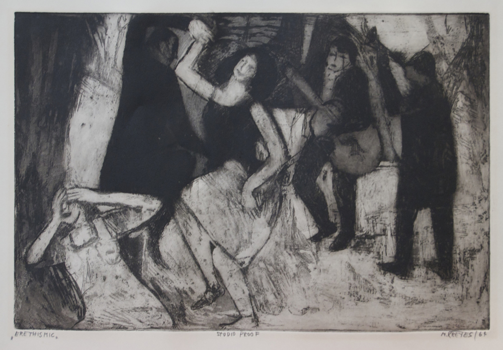"Erethismic, 1964, Aquatint, 18"" x 13"""