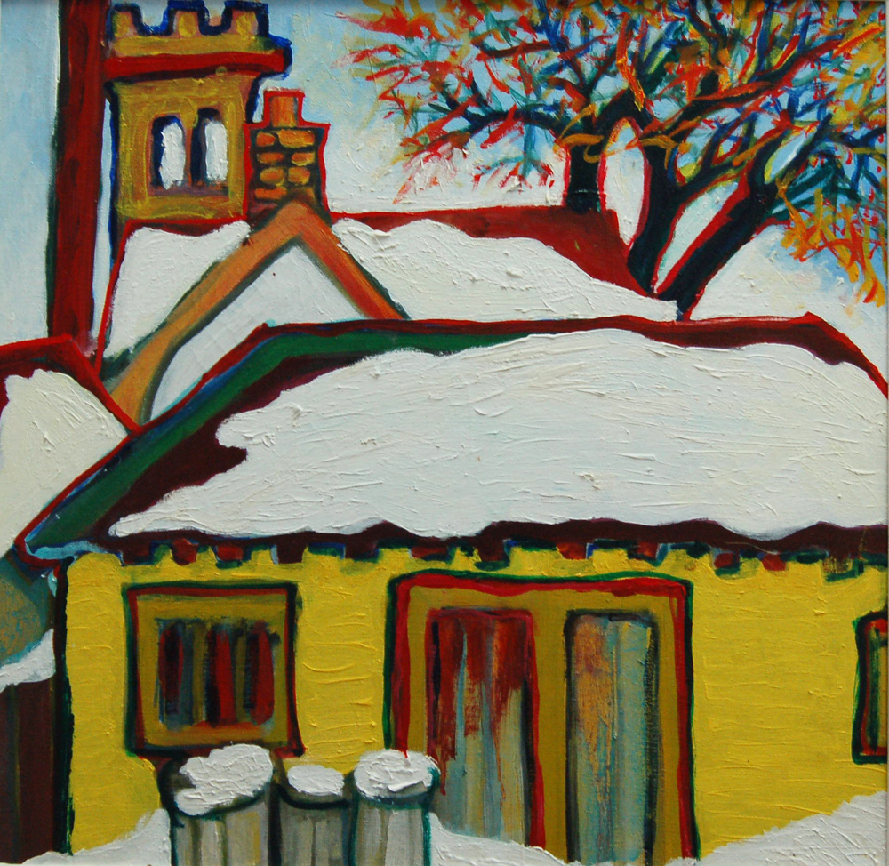 "No. 11 Firehall, Oil on canvas, 19"" x 19"""