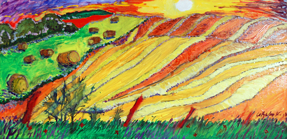 "Furrows, Oil on Board, 47"" x 23.25"", 2013"
