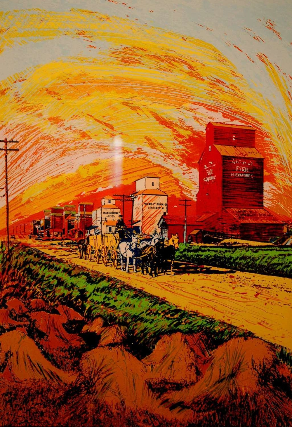 "Harvest Sunset, Silk Screen on Paper, 24"" x 32.5"", 1988, SOLD"