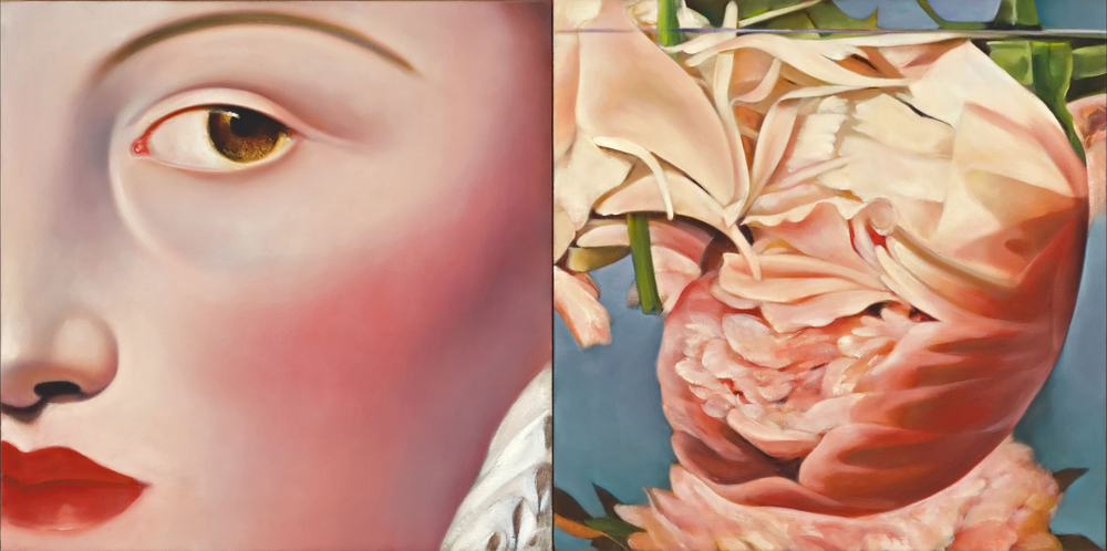 "Young Woman with Drowned Peony, Oil on Canvas, 36"" x 18"""