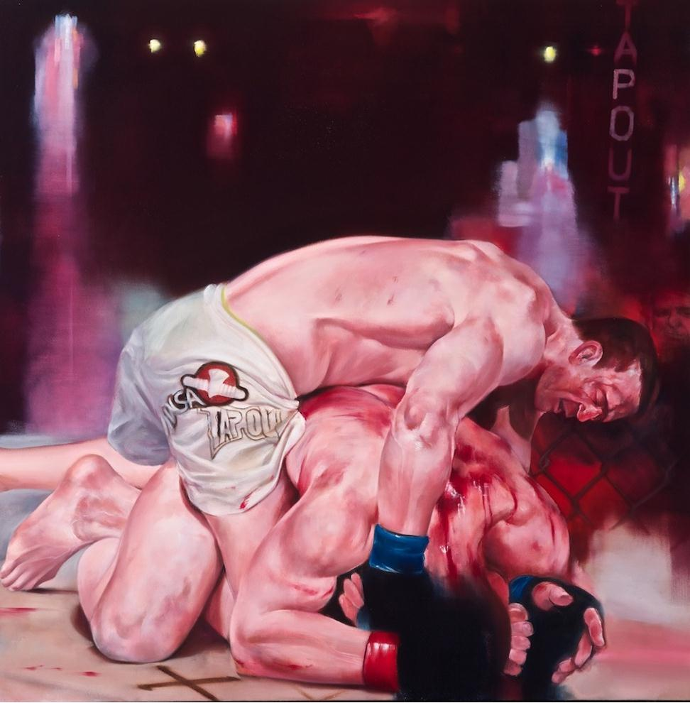 "Tapout (Sonnen vs. Marquardt), Oil on Canvas, 42"" x 42"""