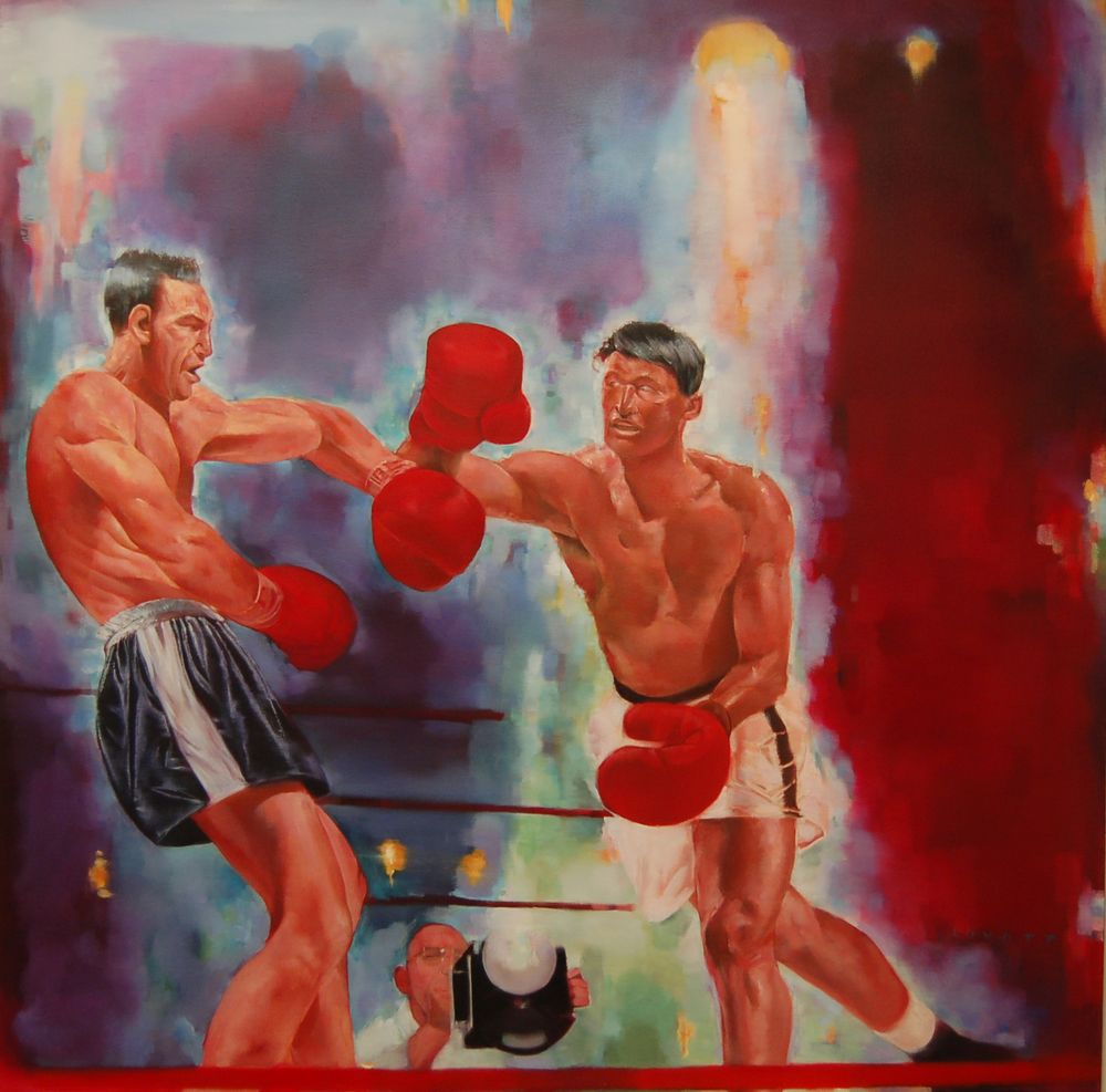 "Schevening Joe Louis, Oil on Canvas, 42"" x 42"""