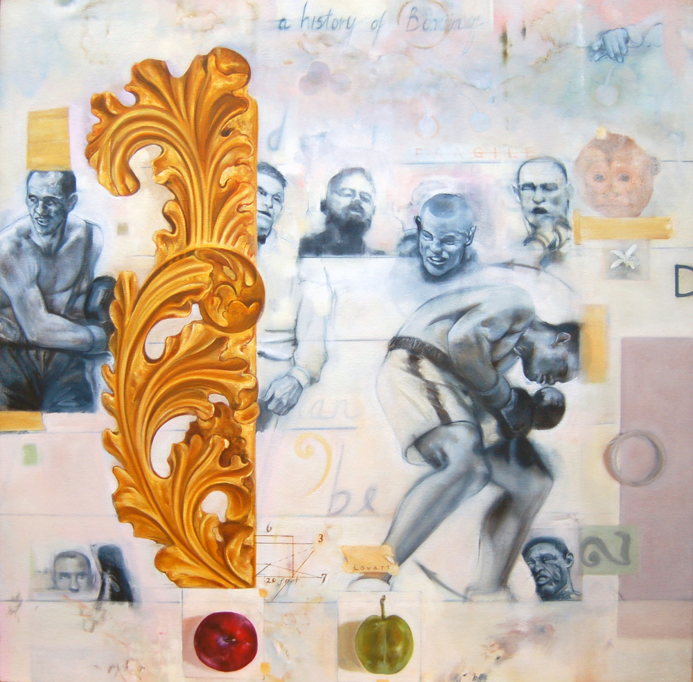 "The History of Boxing, Oil on Canvas, 32"" x 32"", 2013"
