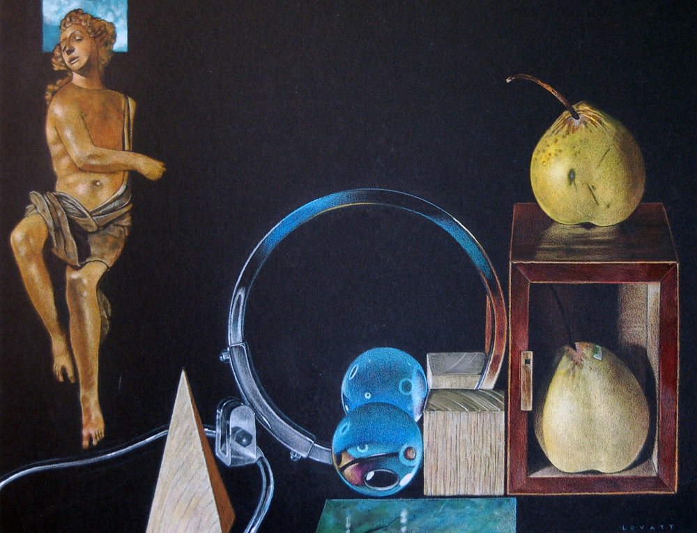 "Still Life with Angel, Coloured Pencil and gauache on board, 19"" x 14.5"""