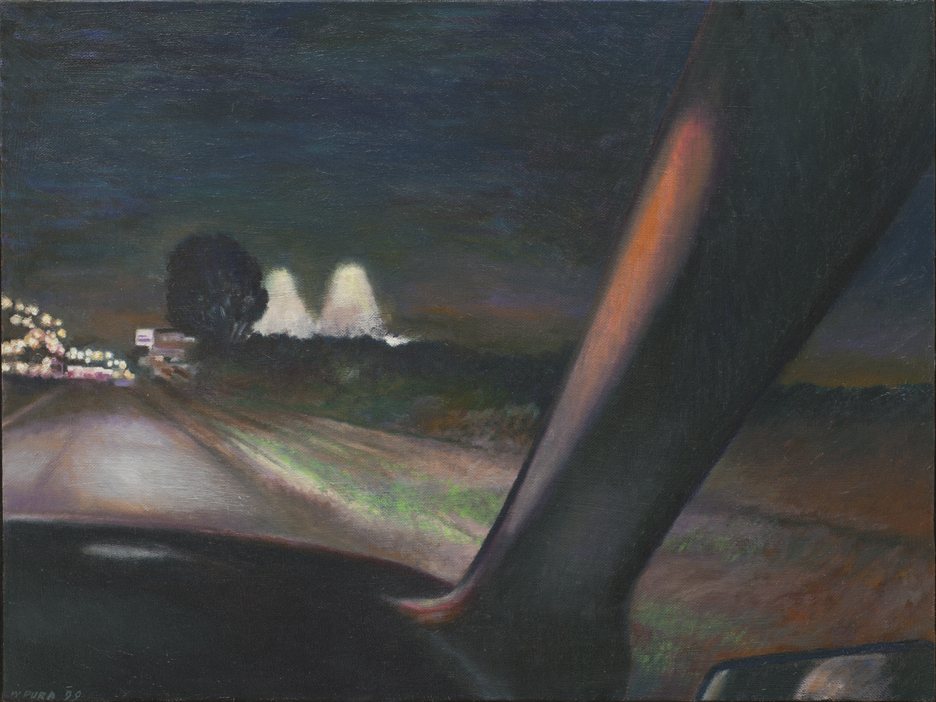 "Approaching the city, 1999, oil on linen, 25.5"" x 19.5"""