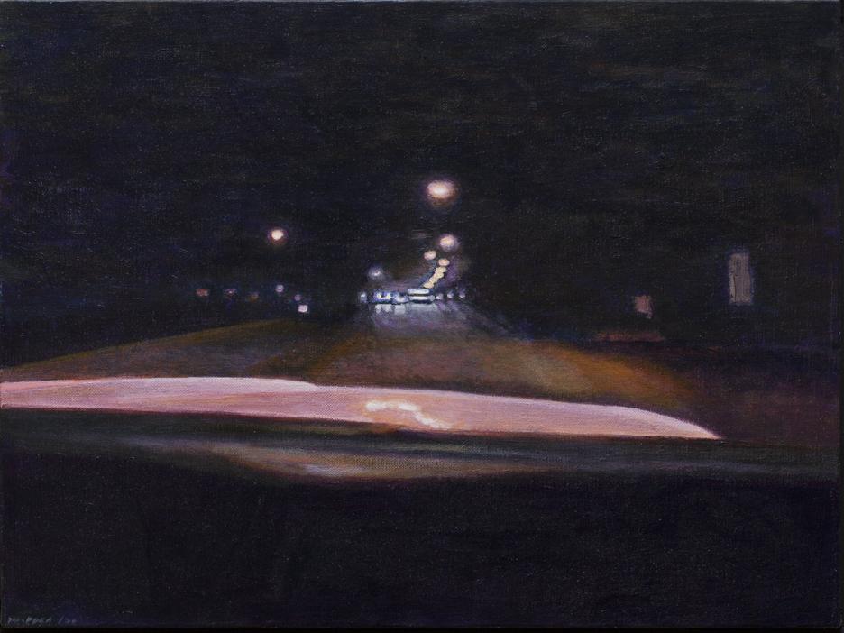 "Night Road: Distant Streetlights, Acrylic on Linen, 2000, 25.5"" x 19.5"""