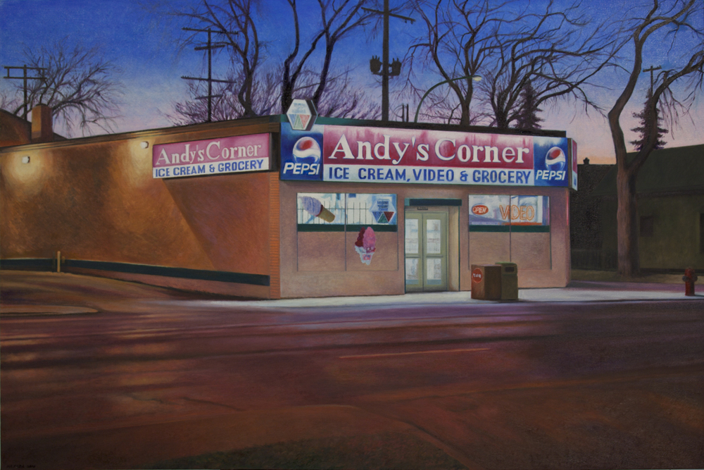 "Andy's Corner, Oil on Canvas, 2010, 63"" x 42"""