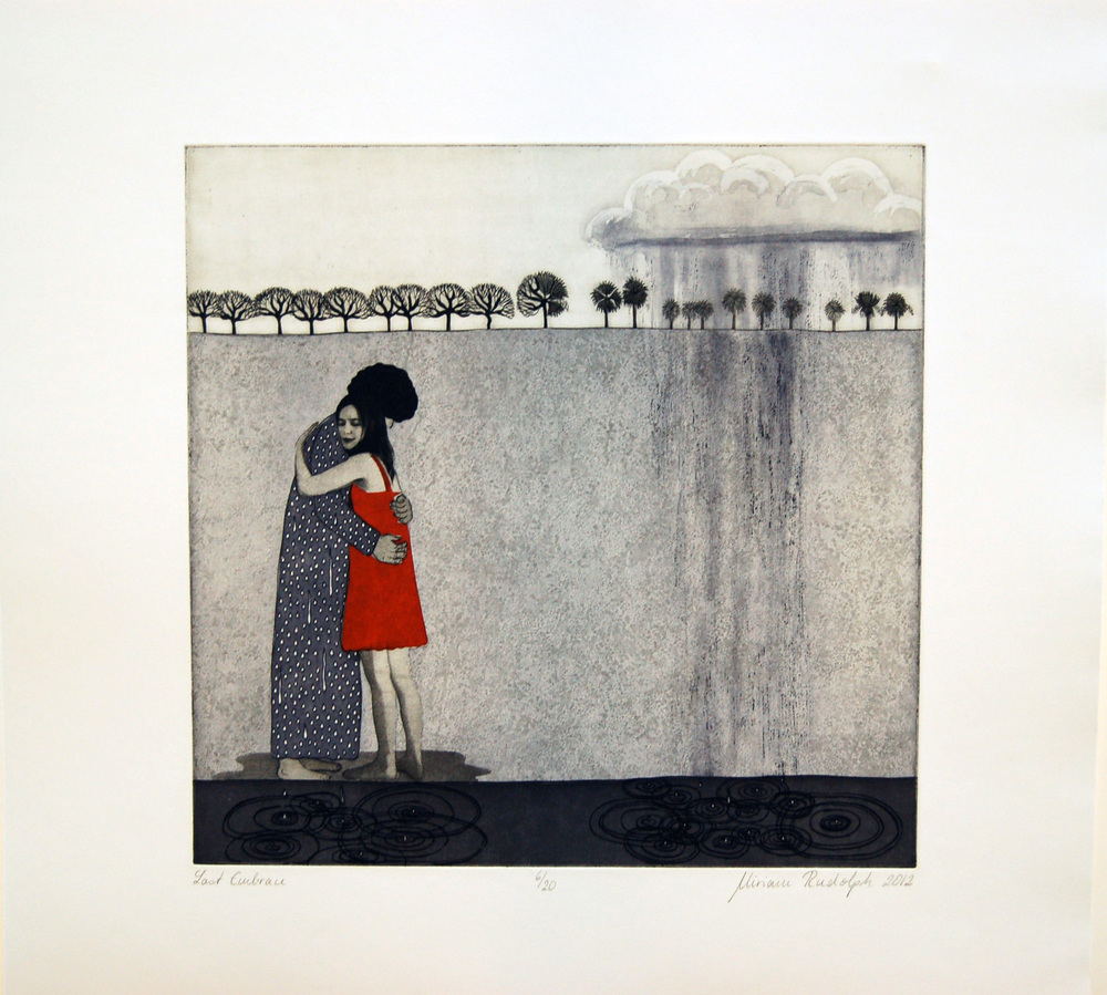 Leaving Behind Etching, Aquatint, Photo-etch, Chine-Collé printed on  pescia magnani paper 30cm x 30cm