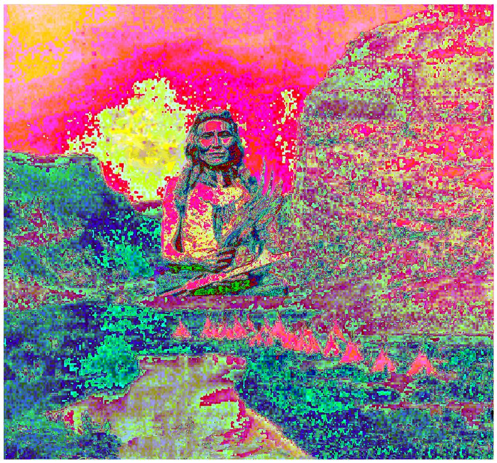 "Pink Village, 49"" x 52.5"",Kodak Metallic Print"
