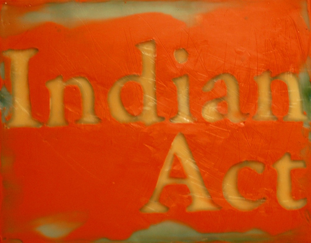 "Indian Act, Encaustic on Canvas, 10"" x 8"""