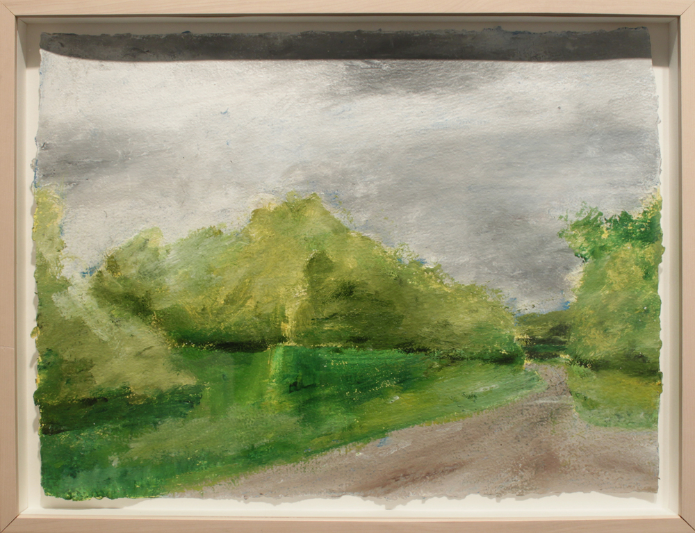 "Driveway 2, Spirit Lake, Acrylic and Rubber on Handmade Paper, Framed, 26"" x 20"""