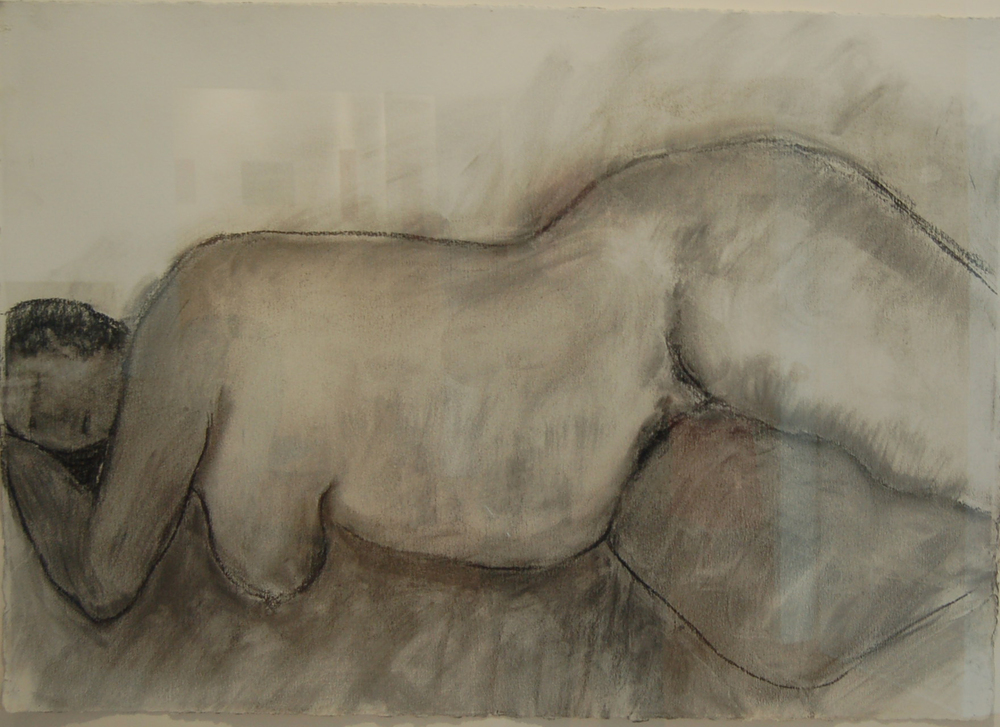 "Large Nude, Charcoal on cotton rag paper, 41"" x 29"", SOLD"