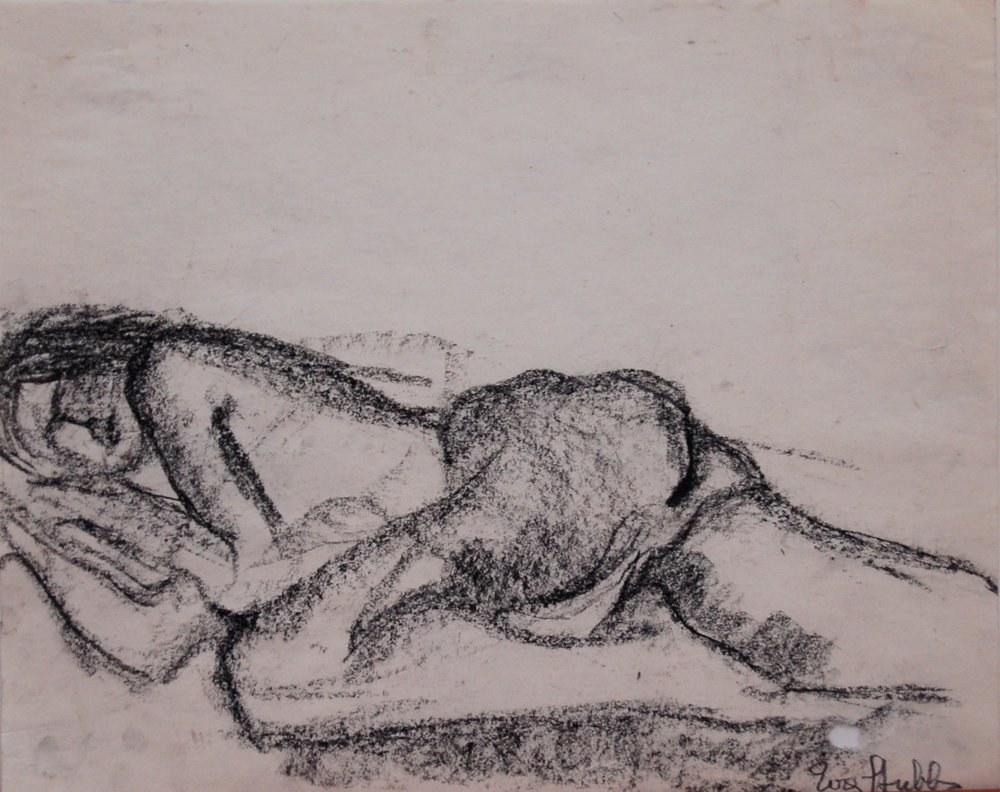 "Reclining Nude, Charcoal on paper, 13.75"" x 11"" SOLD"