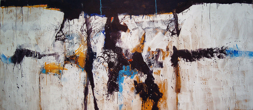 "Untitled Abstract, Encaustic on birch panel, 96"" x 43"""