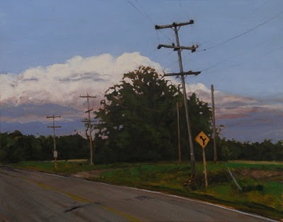 "Yellow Road Sign, Oil on Canvas, 28"" x 22"""