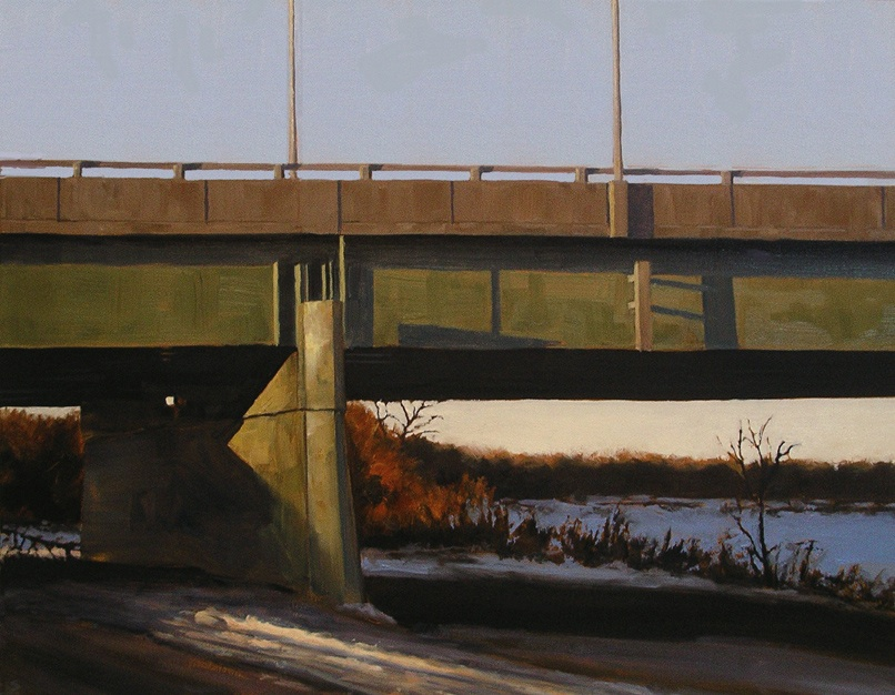 "Perimeter  Bridge, Oil on canvas, 28"" x 22"""