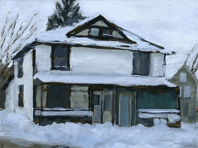 "An Old House, Oil on Board, 2011, 8"" x 6"""