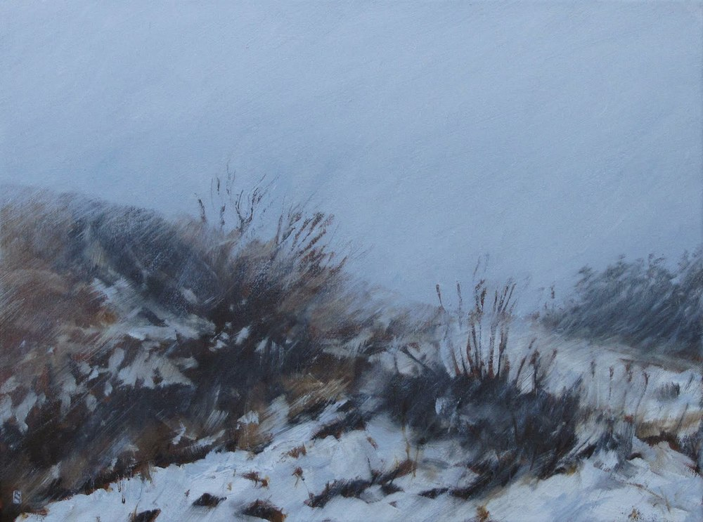 "Snowing, Westview Park, Oil on Canvas, 2012, 16"" x 12"""