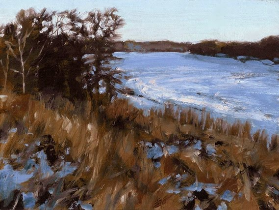 "Winter River, Oil on Board, 2012, 8"" x 6"""